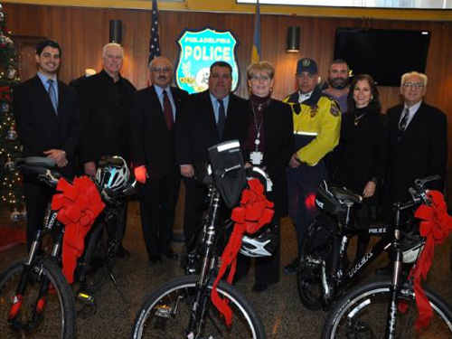 Police Foundation members with Philadelphia Bicycle Police