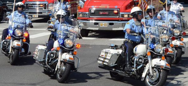 Police officers riding motorcycles